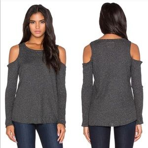 CHASER gray Metallic cold shoulder ribbed top